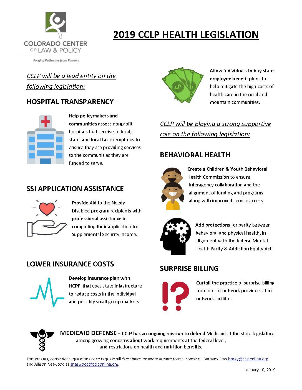Colorado Health Insurance >> 2019 Legislative Preview Health Care Cclp