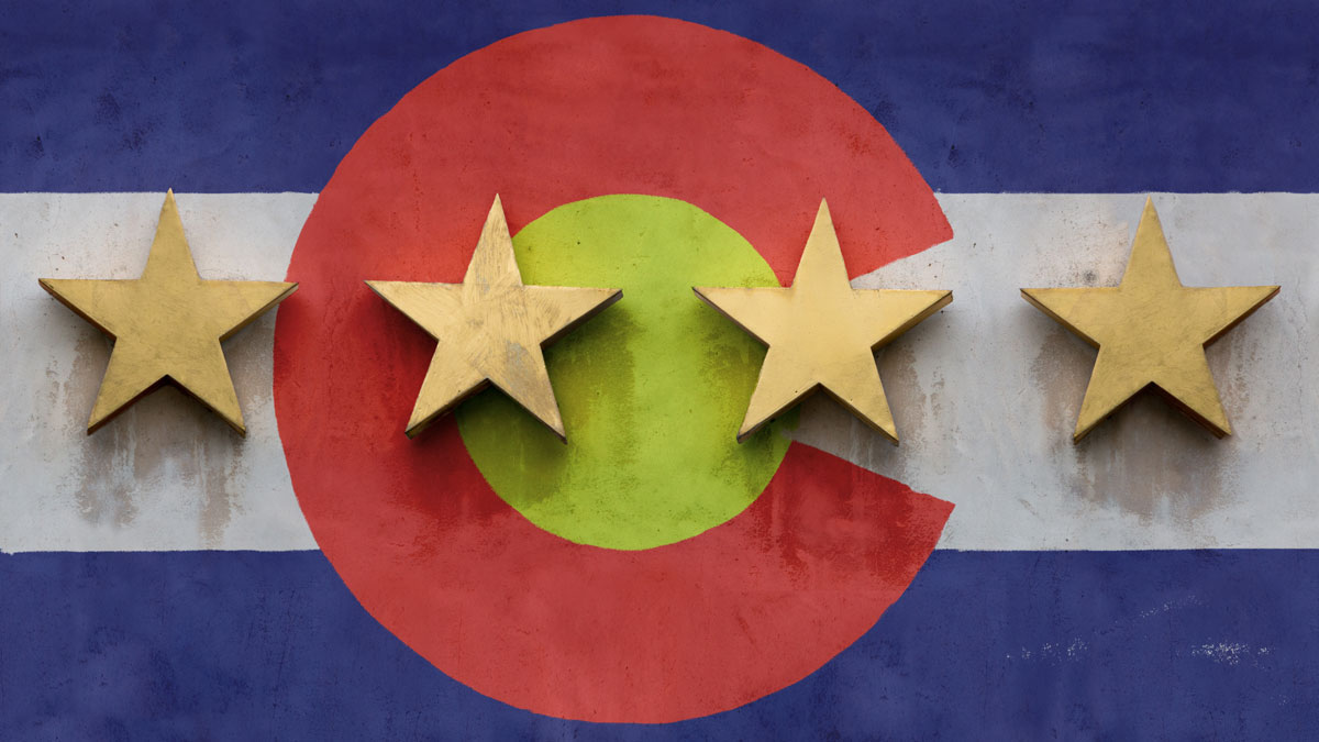 Four star stock photo with flag of Colorado mural