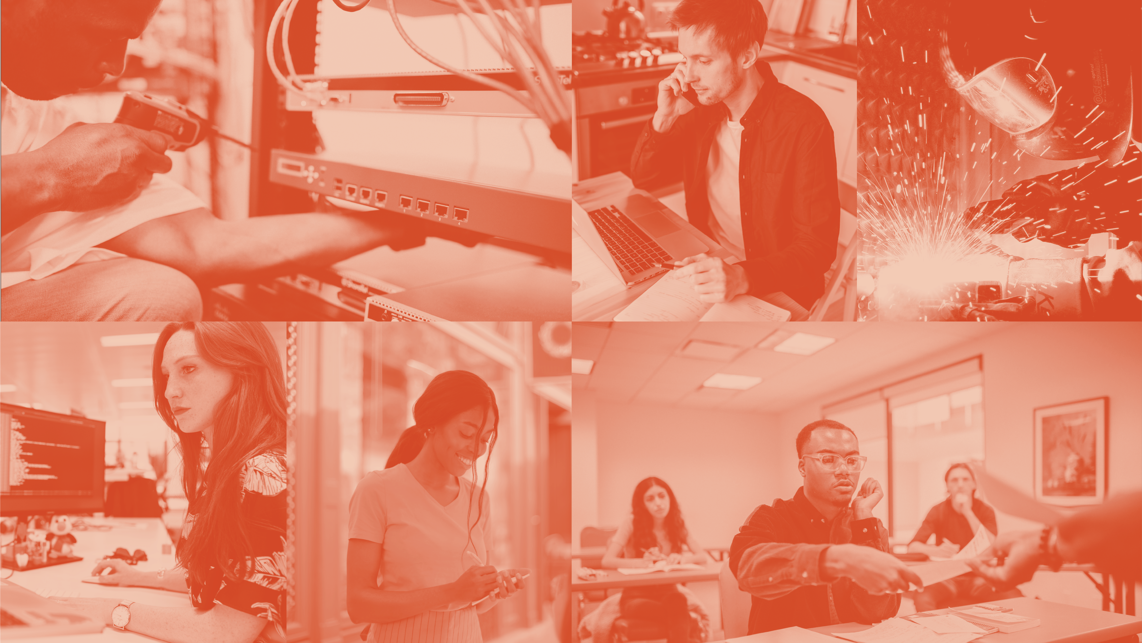 Collage of stock photos depicting various occupations